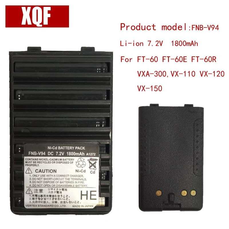 Xqf bateria de 1800mah 7.5v ni-mh, bateria ni-mh FNB-V94 para yaesu/vertex radio ft-60 FT-60E FT-60R VXA-300, rádio VX-110 VX-120 VX-150