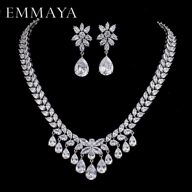 EMMAYA Women's New Fashion AAA Cz Crystal Rhinestone Necklace+Earrings Flower Wedding Jewelry Sets Free shipping