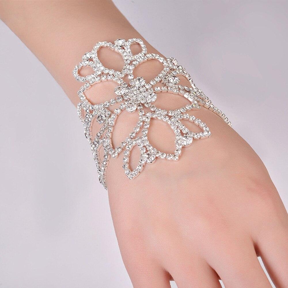 Brazaletes de cristal de Color plateado para mujer, brazaletes florales nupciales al tobillo, joyería de compromiso para boda N30