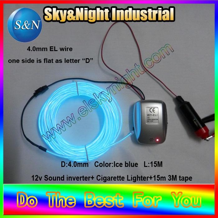 Neon coche-tipo D-hielo blue-15M + 12 música inversor 3 M cinta + Free (diez colores para elegir)
