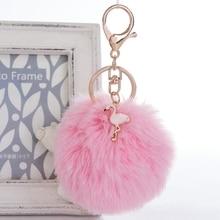Cartoon Cute Flamingos Keychain Pompom Avengers Key Chains Jewelry Fur Ball Key Chain Fluffy  Keyring For Women Car Bag Key Ring