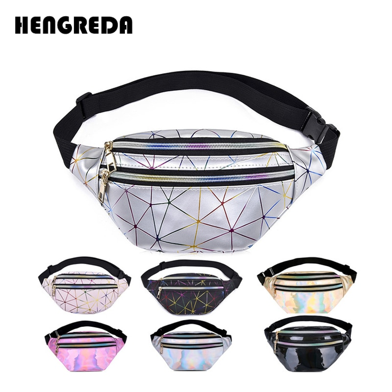 Henreda, riñonera holográfica para mujer, riñonera Rosa plateada, riñonera para mujer, riñonera negra con diseño geométrico, riñonera láser para teléfono