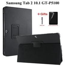 Litchi Flip Folio PU Couverture En Cuir étui pour samsung Galaxy Tab 2 10.1 pouces GT-P5100 P5110 P5113 Intelligent étui pour tablette + Film + Stylet