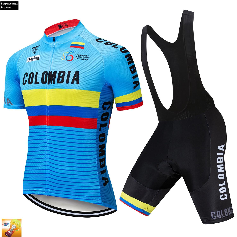 Conjunto de ropa de Ciclismo para el Tour Team, color azul, Colombia, ropa de Ciclismo de secado rápido para exteriores, 2019