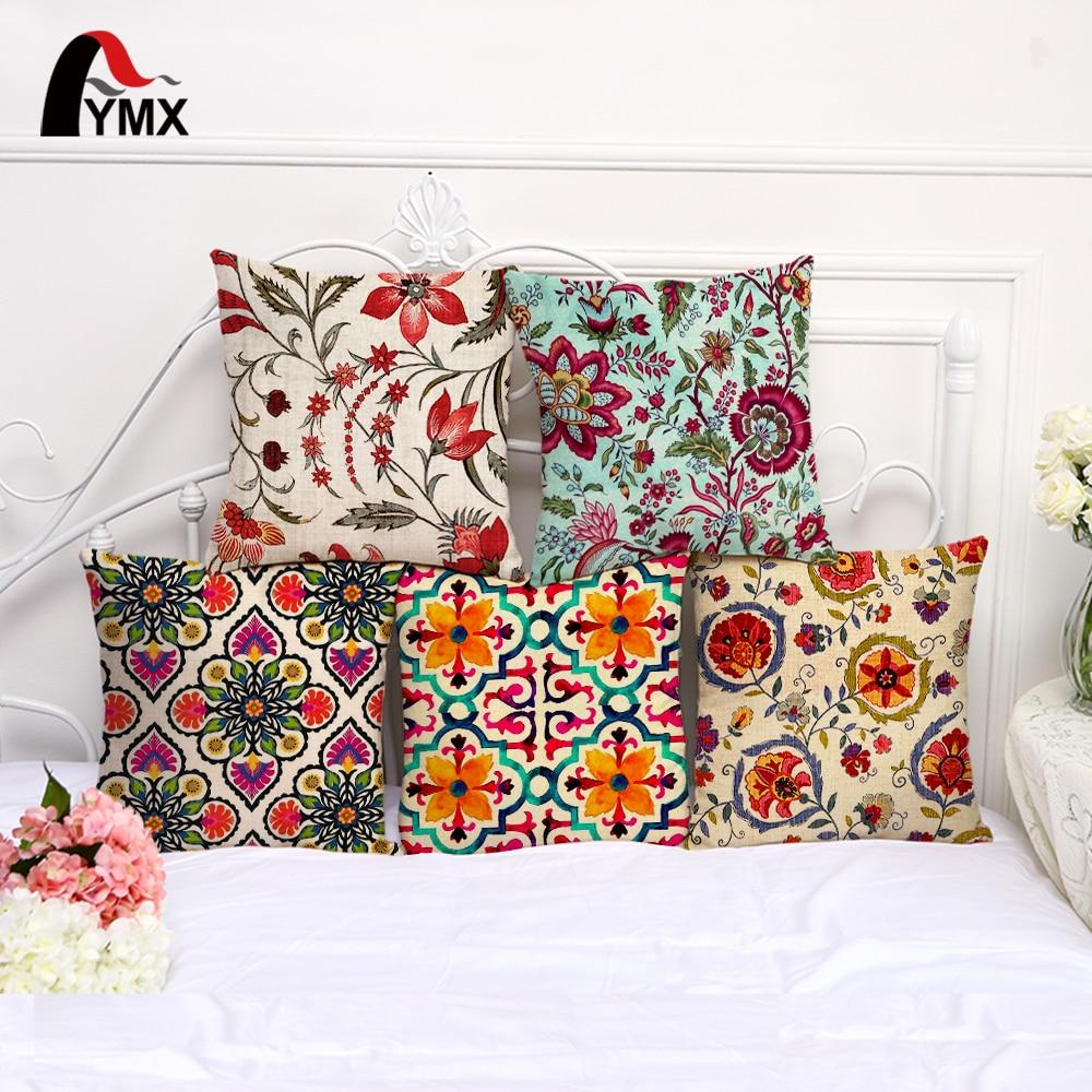 Nueva moda flor funda de cojín con patrón de algodón de lino funda de almohada coche sofá decorativo Floral funda de almohada cojines decoracion