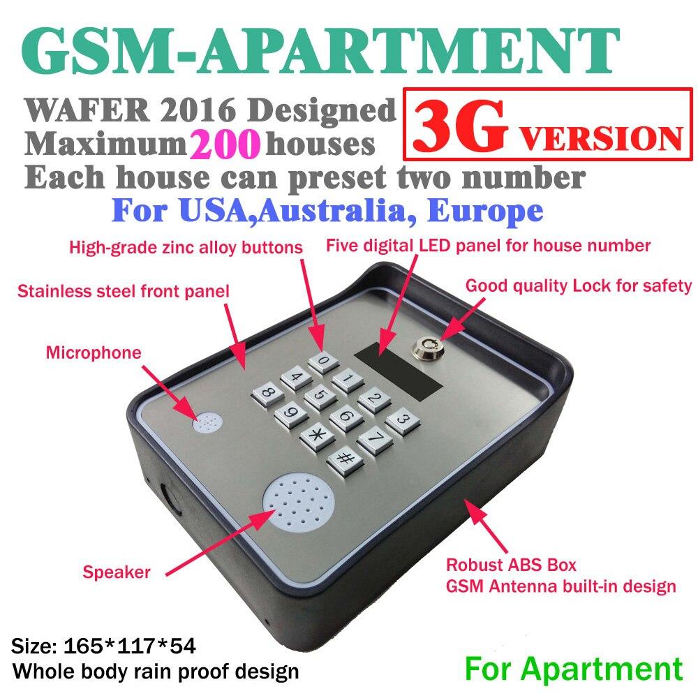 الجيل الثالث 3G و GSM الاتصال الداخلي اللاسلكي باب وبوابة فتاحة الوصول المراقب المالي وخدمة مساعدة الاتصال dc12v مدخلات الطاقة