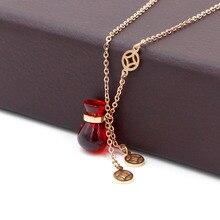 Offre spéciale sac rouge couleur or Rose collier en acier inoxydable