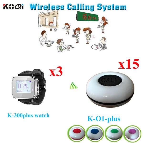 Sistema de llamadas para invitados, nueva llegada, reloj inalámbrico, receptor, 3 piezas, K-300plus, con botón de campana impermeable de 15 piezas, 100%