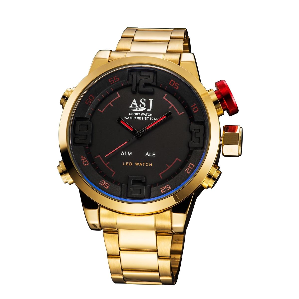 Relojes militares de marca ASJ para hombre relojes de pulsera deportivos con pantalla LED de cuarzo con correa de acero dorado de lujo para hombre 50 M impermeables