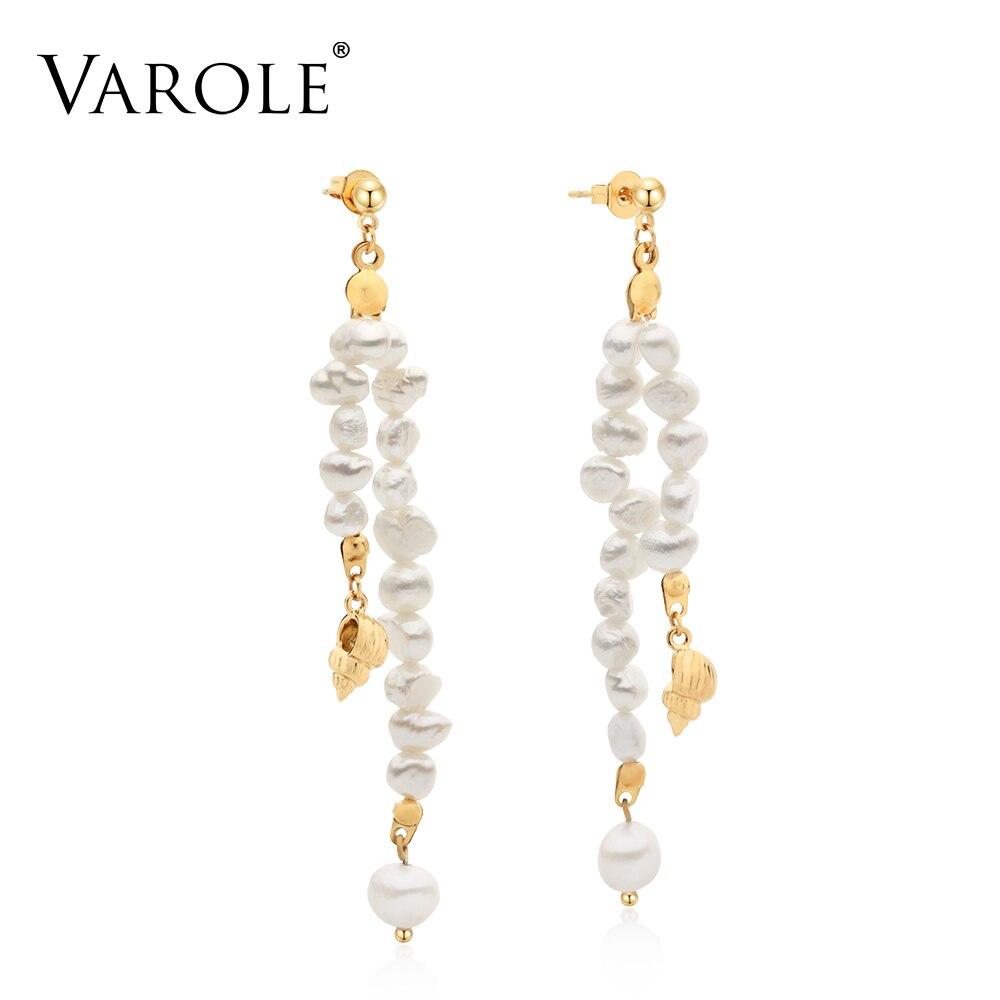 Женские серьги-подвески Varole, длинные серьги золотого и серебряного цвета с натуральными пресноводными грушами, оптовая продажа