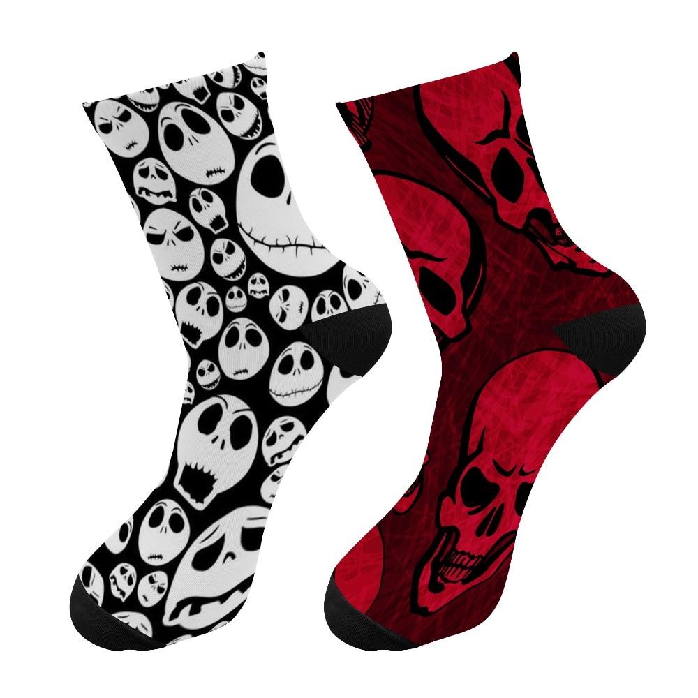 Новые мужские носки с 3D-принтом на Хэллоуин, забавные скелетоны, счастливые длинные носки, носки с черепом, мужские Необычные носки