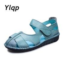 2019 femmes sandales en cuir confortable semelles souples chaussures femmes appartements sandales mode chaussures dété femme sandales Sandalias Mujer