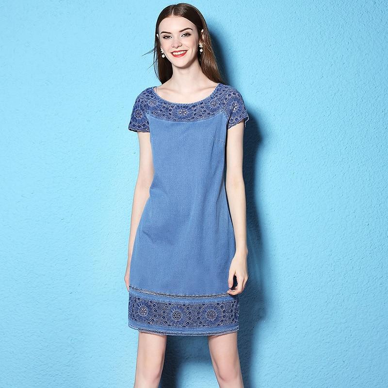 فستان دينم دانتيل مطرز بالزهور ، مقاس كبير ، واسع ، نحيف ، مجموعة الصيف والخريف ، NW17B1128
