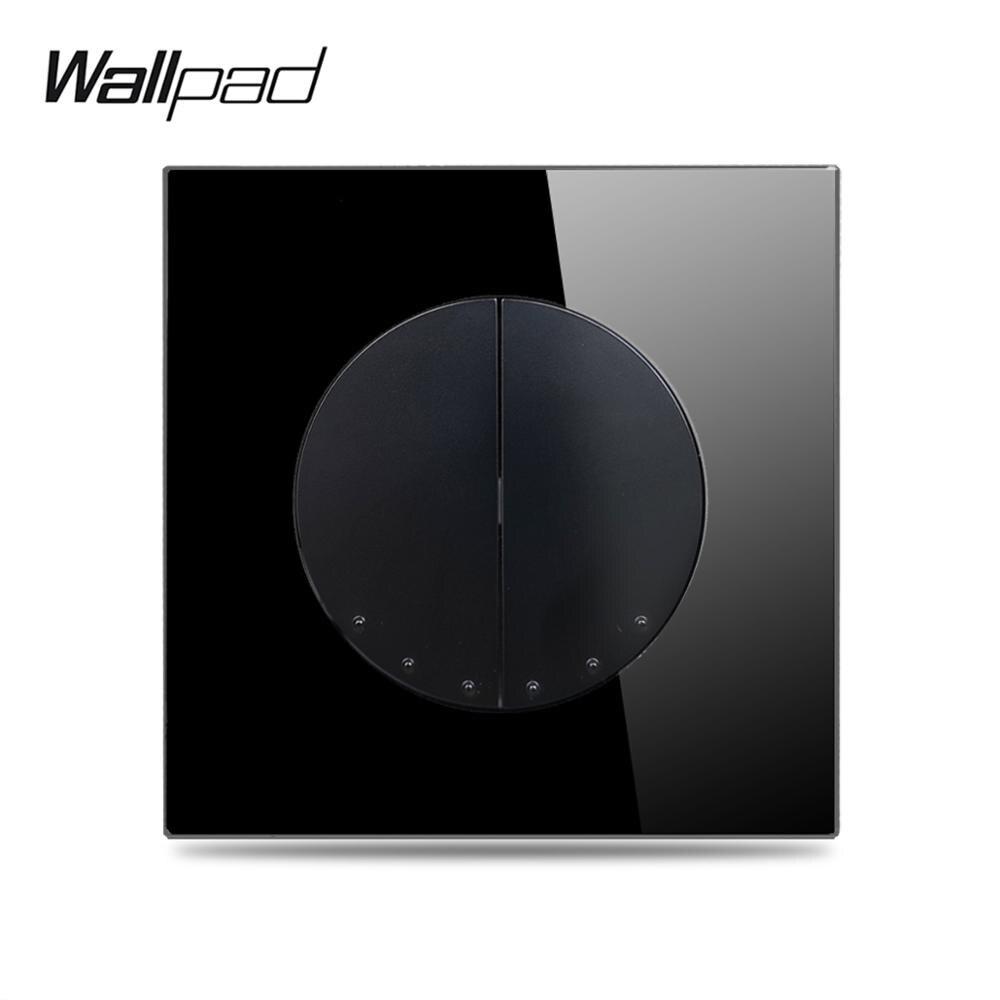 Wallpad L6 LED 2 Gang Intermediate Crossover Electric Wall Light Rocker Switch Black Tempered Glass Panel