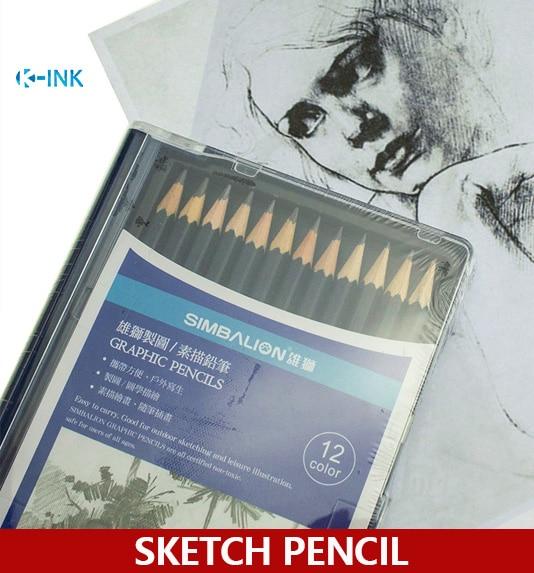 12 unids/set, lápiz de dibujo profesional, juego de lápiz de dibujo 2 H-8B, lápiz de bosquejo de pintura de Arte de madera