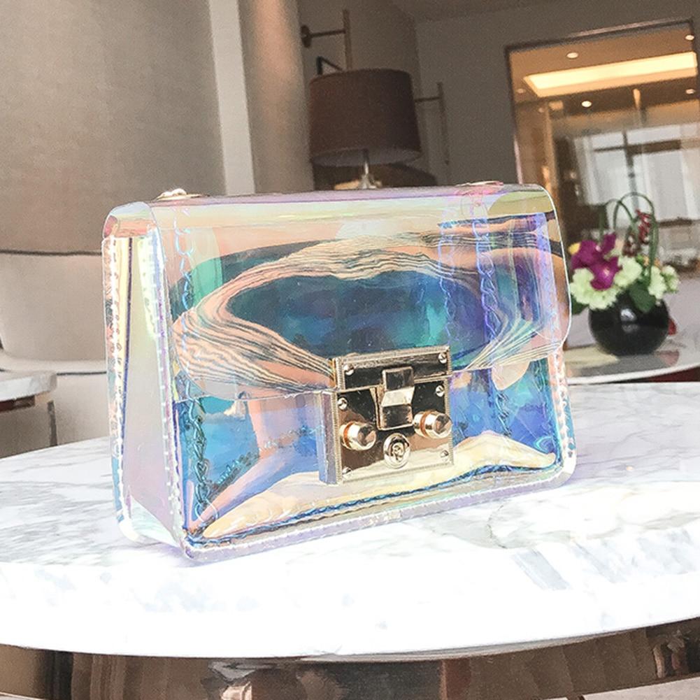 AUAU, bolso transparente para mujer, bolsa pequeña de PVC transparente, bolsas de mensajero, bolsas de hombro holográficas, bolsas de hombro para mujer