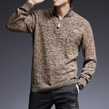 2020 nuevo suéter de marca de moda para hombres, jerséis cálidos ajustados, jerséis con punto de cuello alto, Otoño, estilo coreano, ropa Casual para hombres