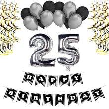 Balões de prata 18th 21th 25th 30th 35th 40th 50th 60th 70th 80th 90th Feliz Festa de Aniversário Decoração de Aniversário Suprimentos para Adultos