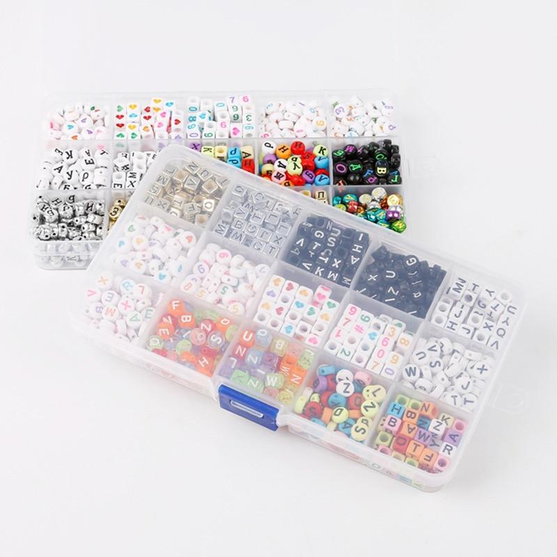 1000 Letras Do Alfabeto pçs/set Contas Enigma Brinquedos DIY Mista Acrílico Contas Coloridas Jogo com Caixa de Acrílico
