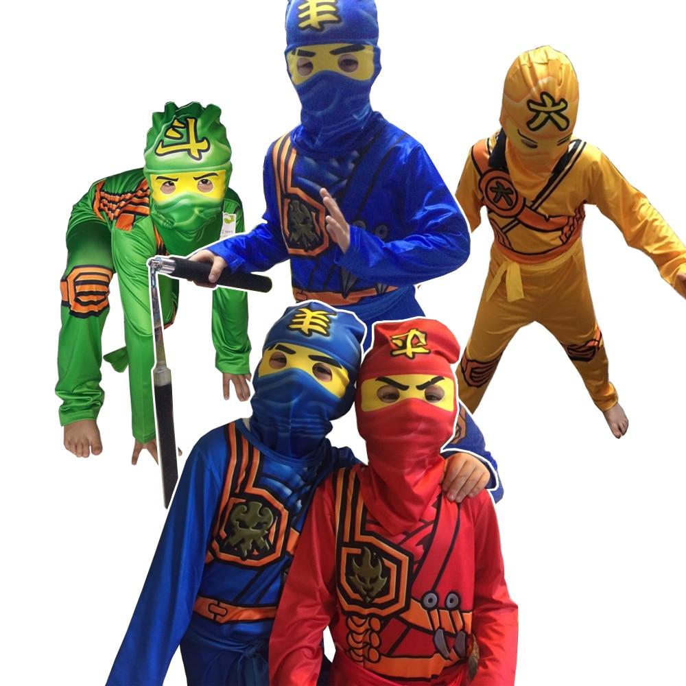 Ninjago traje para meninos para cosplay trajes de halloween das crianças traje de festa fantasiar-se no traje crianças ninja cosplay superher