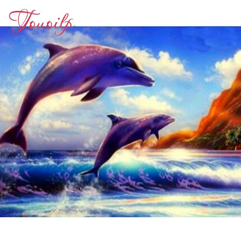diy,Diamond Painting,sea waves,dolphins,Full,Diamond Embroidery,3d picture,image,Stitch Cross,Diamond Mosaic,Needlework,5d art