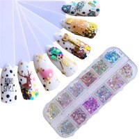 lcj 12 styles shiny round ultrathin nail sequins mixed size colorful nail tips decorations manicure 3d nail accessories