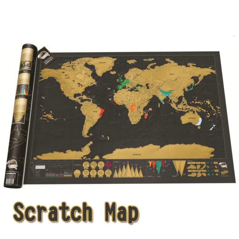 42*30 cm negro mundo Mapa de viaje rascar mapa personalizado borrar mapa del mundo sin tubo decoración creativa pegatinas de pared
