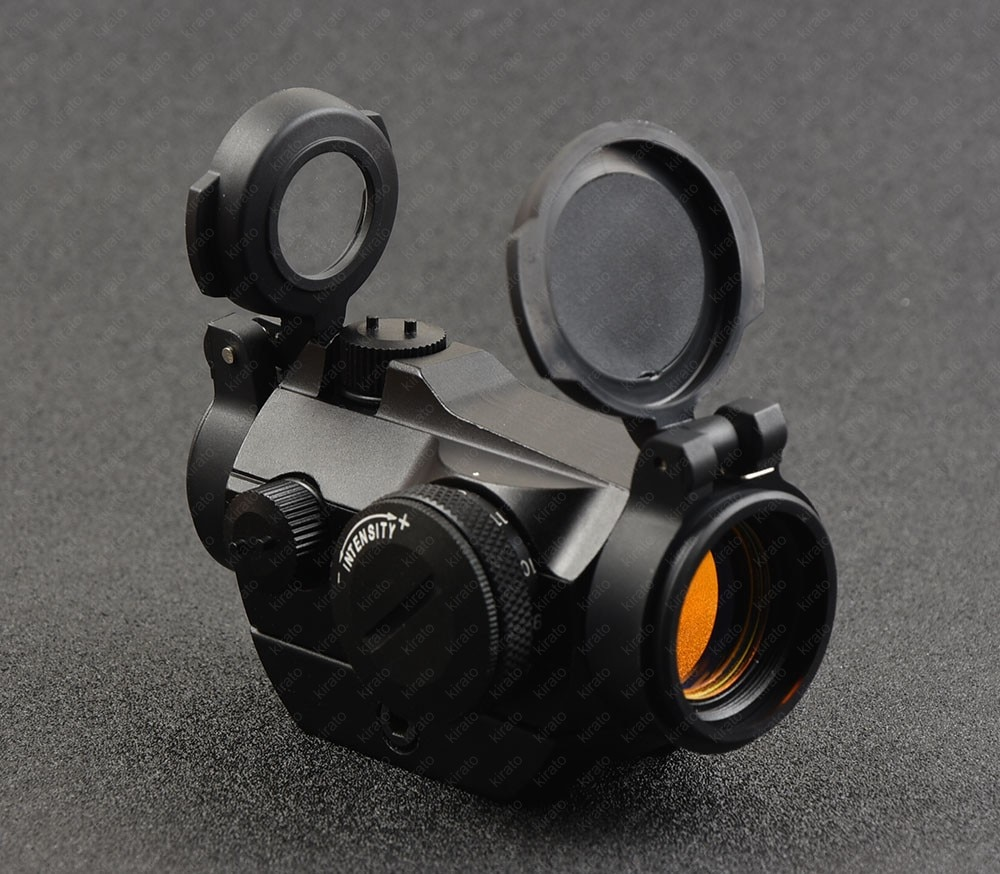Táctico Micro Mini 1x Vista de punto rojo Rifle 20mm riel Picatinny riel de montaje Base cubierta de lente T2 Bk R7482
