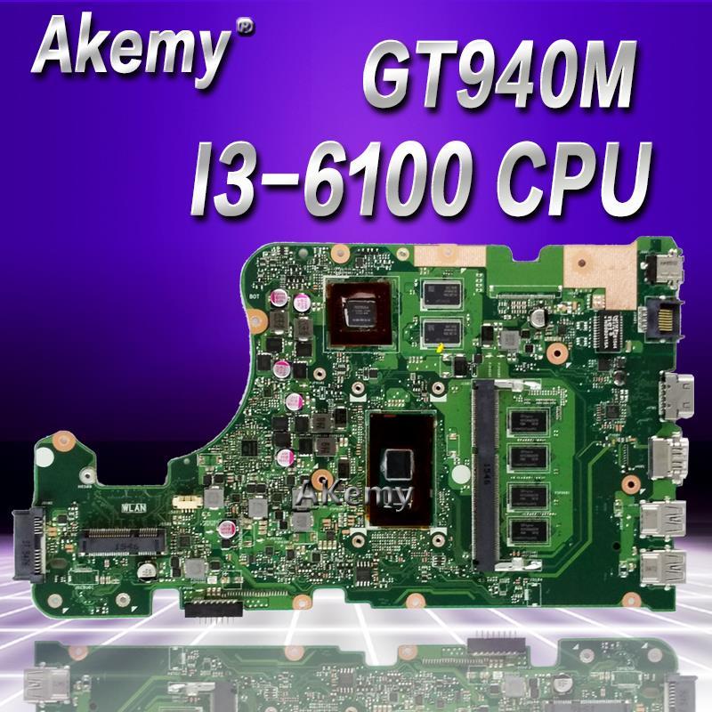 Akemy X555UQ اللوحة الأم لأجهزة الكمبيوتر المحمول For Asus ل For Asus X555UJ X555UF F555U X555UB X555UQ X555U اللوحة الرئيسية 4GB/I3-6100U وحدة المعالجة المركزية GT940M