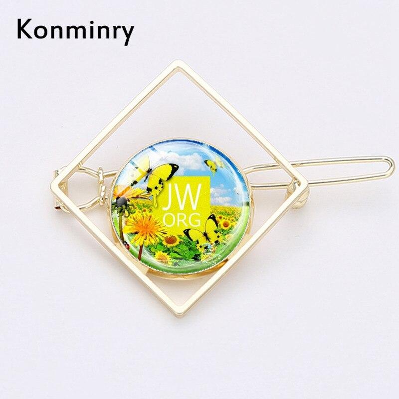 Modny motyl słonecznik świadkowie jehowy kwadratowe HaiClips JW.ORG szkło metalowe geometria spinki do włosów kobiety biżuteria Konminry
