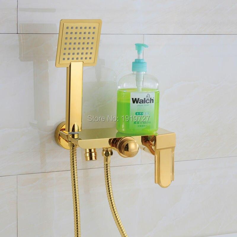 صنبور حوض استحمام مع دش يدوي, مصنوع من الكروم ، أسود ، أبيض ، ذهبي ، تصميم أنيق وفاخر ، بيع بالجملة