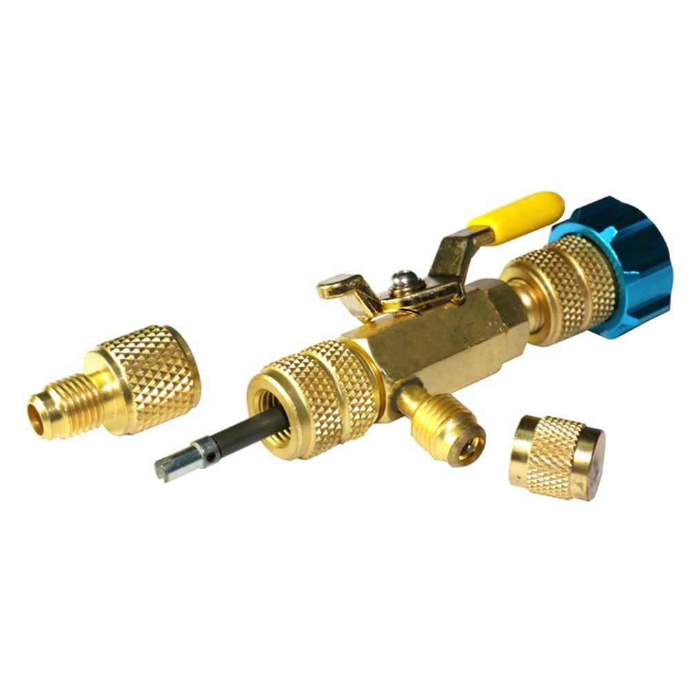 R134a R22 R410A A/C del núcleo de la válvula removedor de instalador herramienta No pérdida de Gas directo de llenado