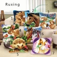 latch hook embroidery pillow animal knitting cushion kits stitch thread pillowcase throw pillows handmade crafts home decoration