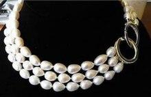 Véritable perle deau douce 10-11MM TRIPLE brins véritable AKOYA collier de perles blanches 17