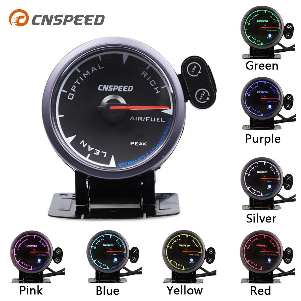"CNSPEED 2,5 ""60mm Universal Auto AIRE combustible relación coche medidor de AFR Metro negro cara para coche de gasolina 12V 7 colores LED POD con soporte"