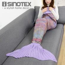 180x90 cm Grote Maat mermaid deken Handgemaakte Gehaakte Zee Meid Staart Deken Kleurrijke Kids Gooi Super Zachte