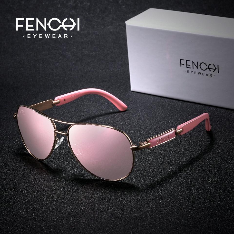 Fenchi polarizado óculos de sol feminino marca do vintage óculos de condução piloto rosa espelho óculos de sol das senhoras dos homens feminino