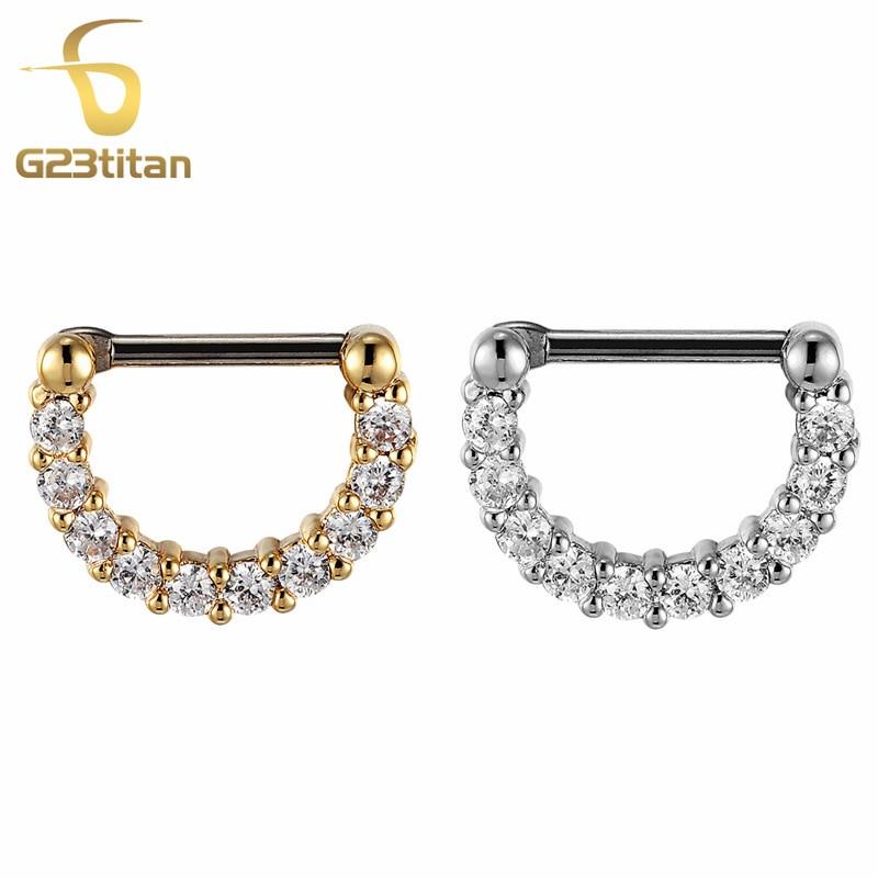 G23titan Zirconia Small Septum Rings for Women Anti allergic G23 Titanium Pole Crystal Nose Ring Body Jewelry
