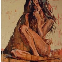 hand painted abstract portrait oil painting on canvas sexy nude girl no stretch and no framed home decoration