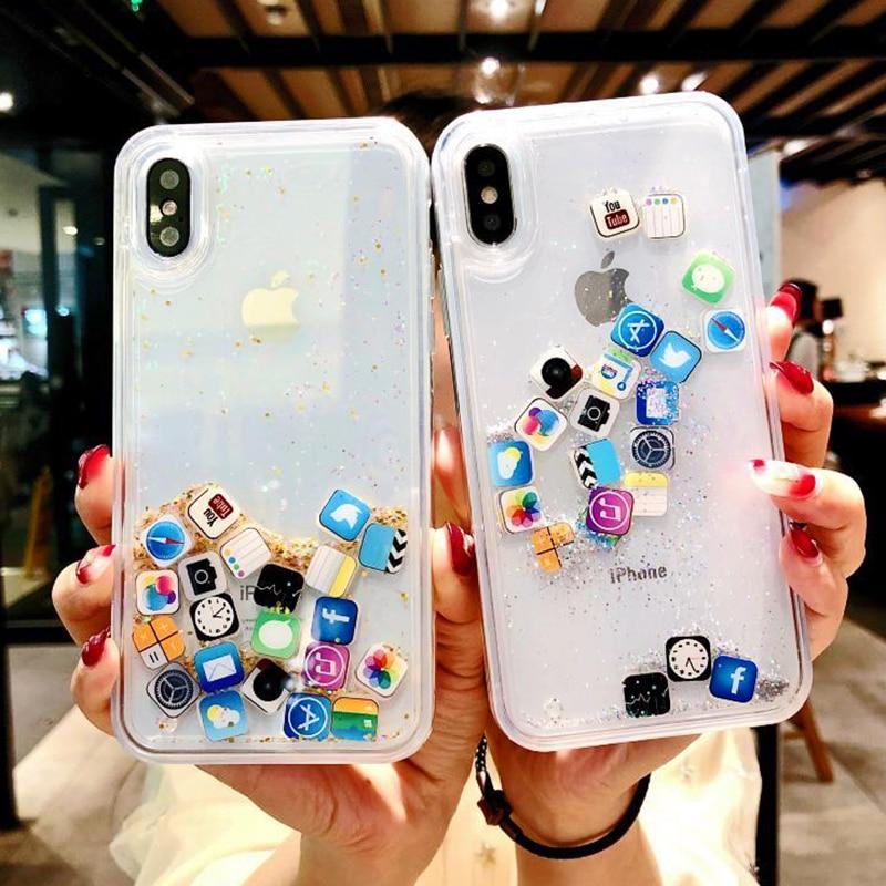 Противоударный динамический зыбучий песок чехол для iPhone 11 Pro X XR XS MAX значок приложения Блестящий силиконовый Жесткий Чехол для iPhone 8 7 6 6s Plus