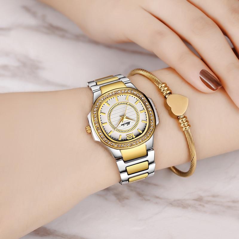 MISSFOX Quartz Watch Women Luxury Brand Diamond Analog Patek Ladies Watches Water Resistant 18K Golden Clock Hour For Women Gift enlarge