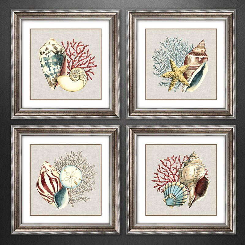Nórdico moderno Caracol de océano de estrella de Mar de Coral imprimir cartel cuadro sobre lienzo para pared foto para pared de salón arte Decoración de casa
