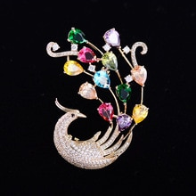 Elegant Cubic Zirconia Animal Phoenix Brooch Pin Korean Stylish Scarf Buckle Costume Jewely XR04170D