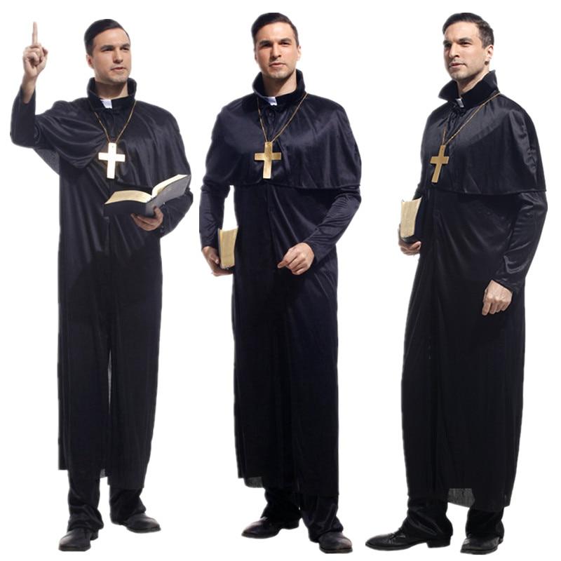 Ropa de Cosplay para hombre adulto, disfraces de sacerdote para el padre de Dios, mascarada de Halloween de Carnaval de Navidad, disfraz de Cosplay