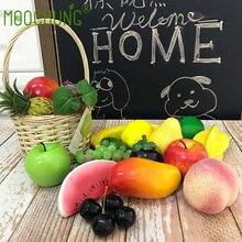 MOOCHUNG 19pcs Mixed Artificial Fruits For Home Garden Decoration Fake Foam Apples Grapes Lemon Pineapple Banana Watermelon