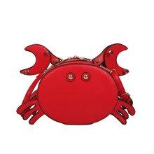 Personality cute crab women mini messenger bag ladies handbag chain shoulder bag flap