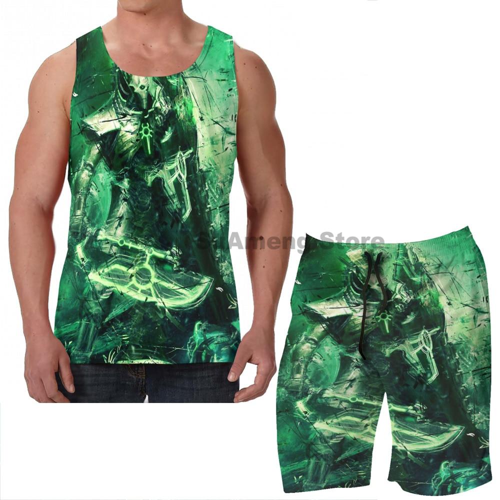 Summer funny print men Tank Tops Women Necron Lychguard Unyielding men Board beach shorts women sets fitness sleeveless vest