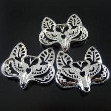 GraceAngie 5 pièces 40*36*3mm bijoux en alliage Imitation mignon Animal renard pendentifs à breloque pour la recherche de bijoux faisant accessoire de collier