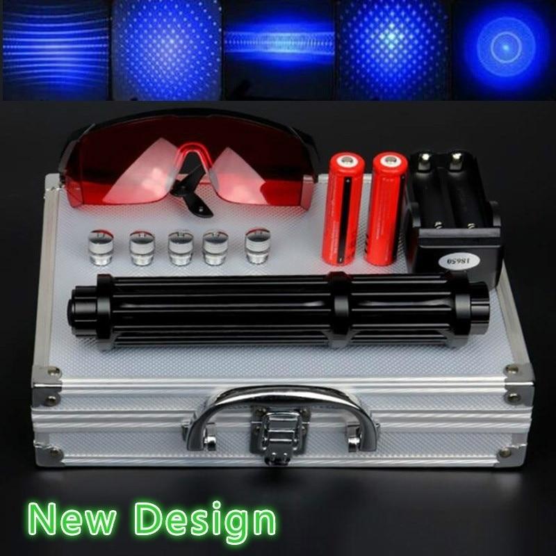 Alta Potencia 2w Lengthen azul láser punteros 450nm Lazer vista linterna quemador fósforo/encendedor de cigarros/vela/caza