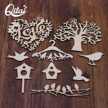QITAI-ensemble darbre familial en bois 28 pièces   Ensemble avec oiseaux et cages, accessoires artisanaux de décoration pour la maison WF314, bricolage en forme de mots damour, scrapbooking